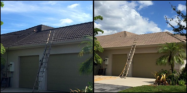 before & after residential roof cleaning and roof-a-cide treatment