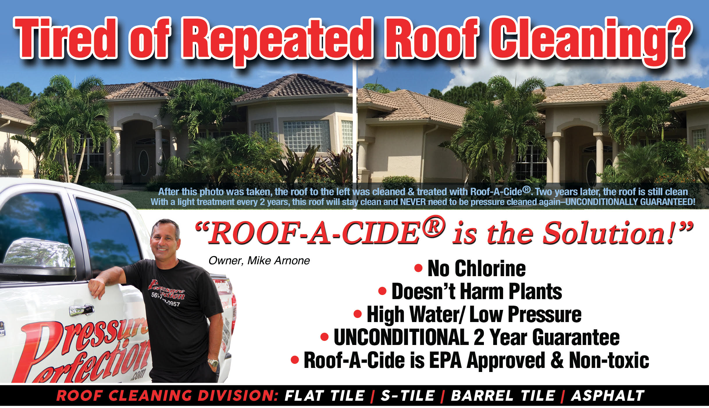 Roof Cleaning Services & treatment by Pressure Perfection